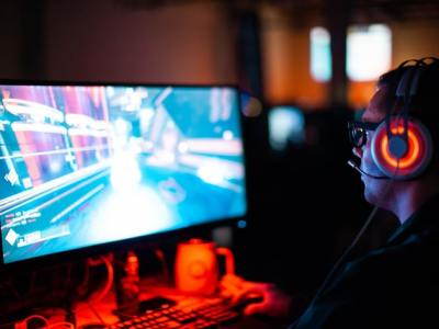 Person playing video game